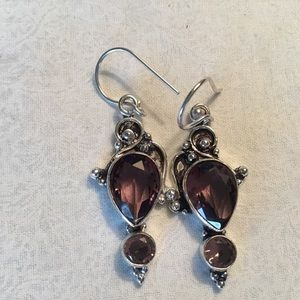 NWOT. Sterling Silver Amethyst Earrings